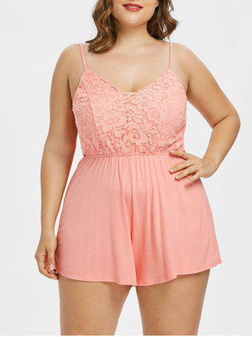 Outfit Plus Size Lace Panel Scalloped Romper