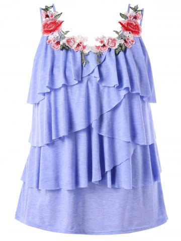 Cheap Plus Size Embroidery Tiered Ruffle Tank Top