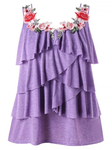 Fashion Plus Size Embroidery Tiered Ruffle Tank Top