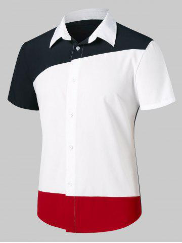 Contrast Color Short Sleeve Shirt - White - M