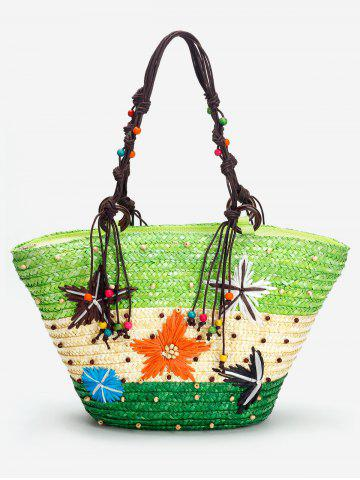 Buy Color Block Straw Beaded Embroidery Beach Tote Bag