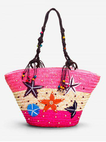 Affordable Color Block Straw Beaded Embroidery Beach Tote Bag