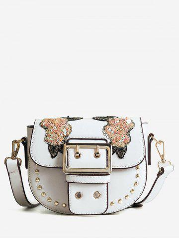 Outfit Sequins Embroidery Chic Studs Buckle Crossbody Bag