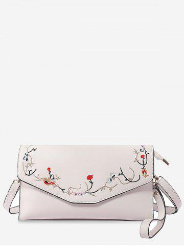 Online Faux Leather Flower Embroidery Leisure Flap Crossbody Bag