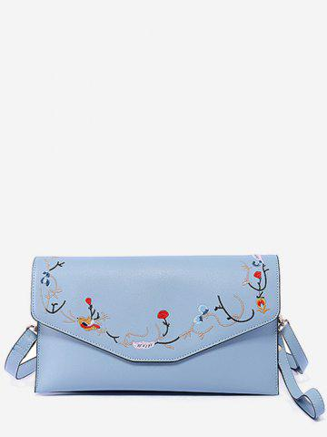 New Faux Leather Flower Embroidery Leisure Flap Crossbody Bag