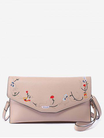 Best Faux Leather Flower Embroidery Leisure Flap Crossbody Bag