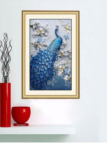 Fashion Peacock Flowers Print Wall Sticker for Bedrooms