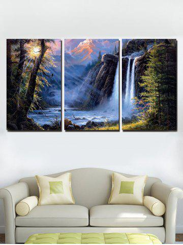 Latest Mountains Waterfall Print Unframed Split Canvas Paintings