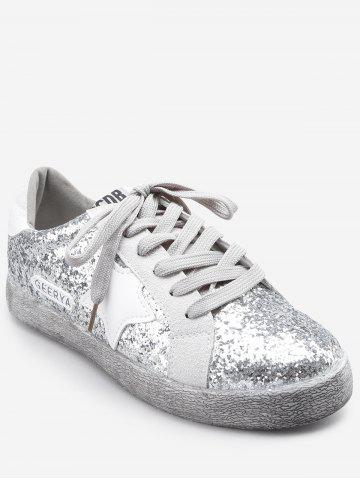 Outfit Dazzling Sequins Pentagram Lace Up Sneakers