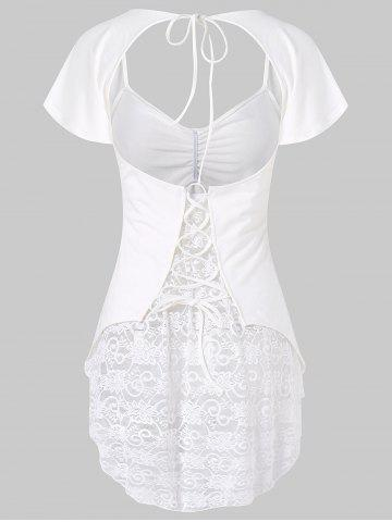 Fancy Open Back Lace Insert Top