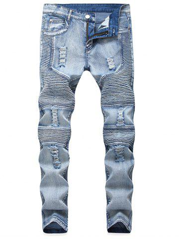 Online Ripped Holes Five-pocket Biker Jeans