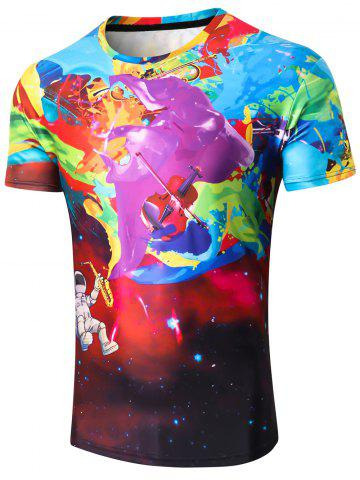 Fashion Guitar Robot Paint Print Tee Shirt