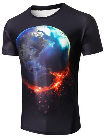 Affordable Short Sleeve 3D Earth Number Print T-shirt