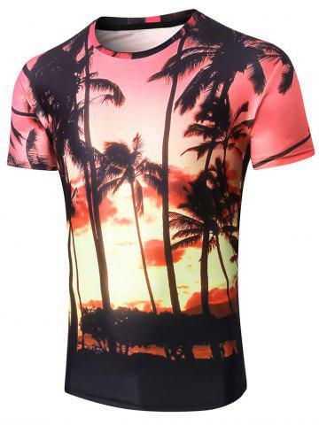 Trendy Hawaiian Style 3D Coco Palm Print T-shirt