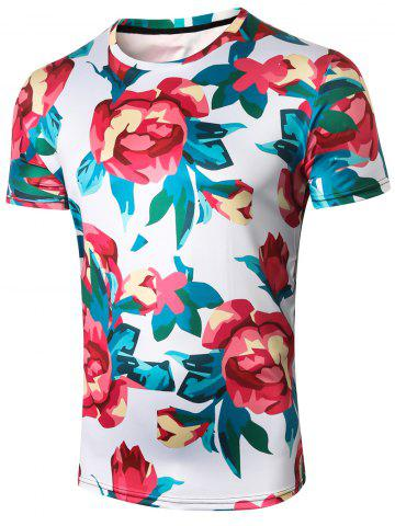 Affordable Rose Print Crew Neck Tee