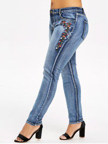 Shops Plus Size Five Pockets Embroidered Jeans