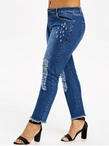 Online Plus Size Distressed Frayed Jeans