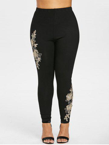 Shop Plus Size High Waisted Embroidered Leggings