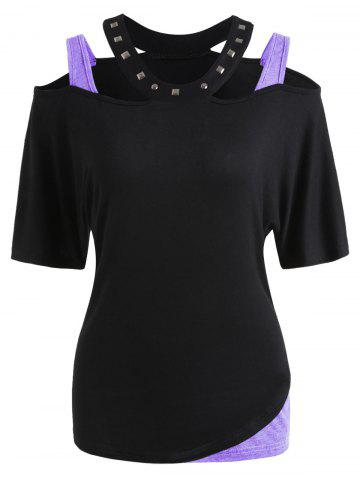 Outfits Rivet Embellished Cut Out T-shirt