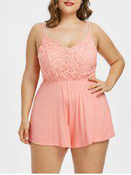 Plus Size Lace Panel Scalloped Romper -