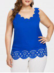 Plus Size Laser Cut Scalloped Edge Tank Top -