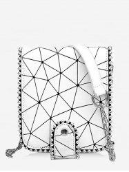 Metal Chain Studs Geometric Crossbody Bag -