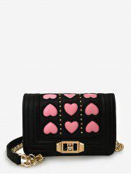 Hearts Pattern Color Block Studded Sling Bag -