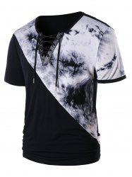 Lace Up Tie Dye Short Sleeve T-shirt -