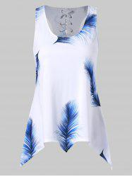 Feather Print Asymmetrical Tank Top -