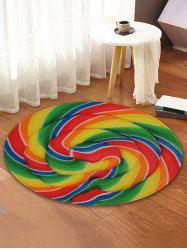 Lollipop Printed Round Coral Fleece Floor Mat -
