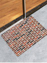 Brick Wall Print Flannel Floor Mat -