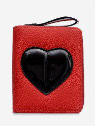 PU Leather Contrasting Color Heart Pattern Bi Fold Wallet -