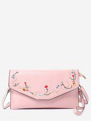 Faux Leather Flower Embroidery Leisure Flap Crossbody Bag -