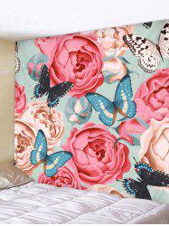 Wall Hanging Art Butterflies and Flowers Print Tapestry -