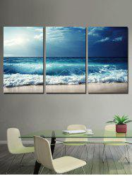 Beach Wave Print Unframed Split Canvas Paintings -