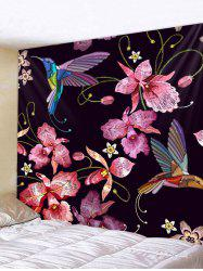 Wall Hanging Art Flowers and Birds Print Tapestry -