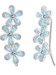 Colored Crystal Floral Decorative Earrings -