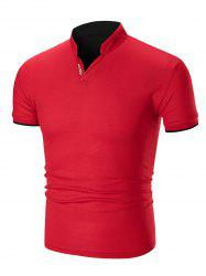 Letter Print Stand Collar Slim Fit T-shirt -