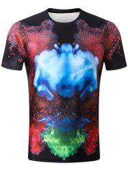 3D Colorized Fog Print Casual T-shirt -