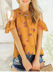 Floral Print Cold Shoulder Top -
