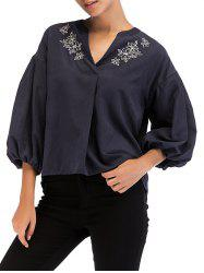 Vintage Embroidery Lantern Sleeve Top -