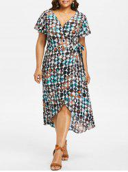 Plus Size Bubble Print Surplice Dress -