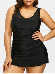 Mesh Panel Plus Size Ruffle Hem Tankini Set -