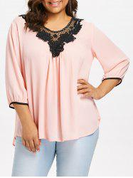 Plus Size Crochet Lace Trim Blouse -