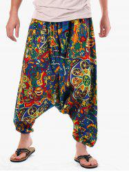 Casual Retro Abstract Print Harem Pants -
