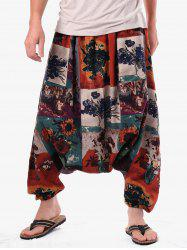 Retro Flower Vase Paint Harem Pants -