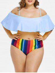 Ensemble de bikini à volants Rainbow Plus Size -