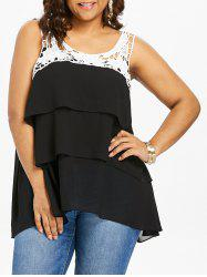 Plus Size Crochet Flower Layered Tank Top -