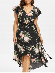 Plus Size Floral Shawl Collar Wrap Dress -