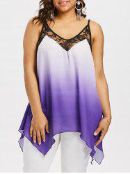Plus Size Lace Trim Handkerchief Tank Top -